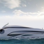 Белый корабль в виде морского животного