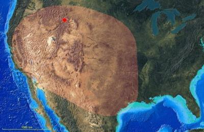 зона поражения во время вероятного извержения