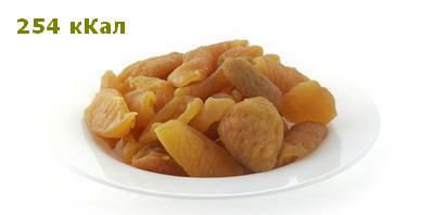 Персик сушёный - 254 ккал
