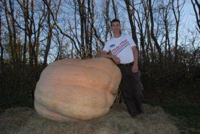 Крис Стивенс красуется рядом с его 821 килограммовой тыквой