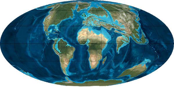 Земля во время эоценовой эпохи (50 млн лет назад)