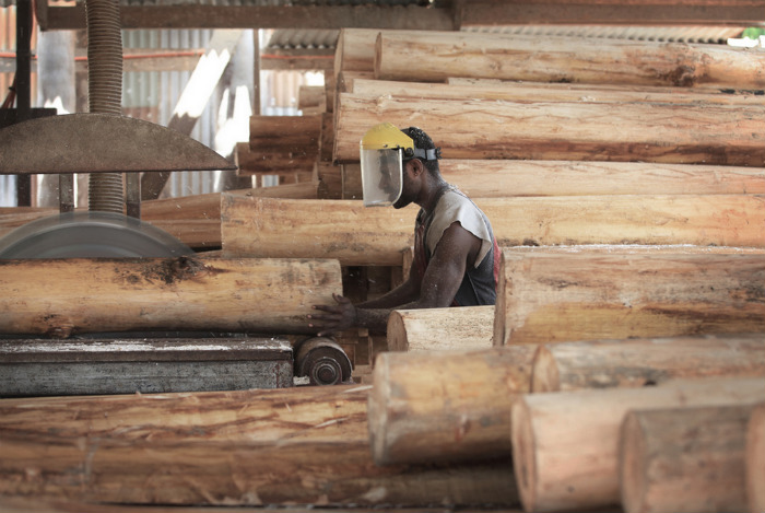 Распилка бальсы (Папуа-Новая Гвинея)