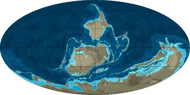 Земля в середине палеозойской эры (400 млн лет назад)